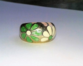 Mod Sterling Silver Enamel Flower Ring Size 8 Boho Hippie Spring Summer 925 Chunky Statement Accessories