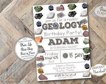 INSTANT DOWNLOAD - Boys Geology Birthday Party Invitation - Rock Hunt Mining Birthday - Boy Geology Invite - Geologist Rocks - Rock Climbing