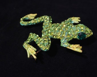Vintage Leaping Rhinestone Green Frog Pin Brooch - Figural Toad Pin Brooch