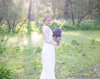 "Long Sleeve Wedding Dress, A-line Lace Wedding Dress with Open Back - ""Natalia"", Unique Wedding Dress, Bohemian Wedding Dress, Custom Order"