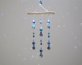 hanging mobile sun catcher, blue beaded suncatcher, nursery room wall ceiling decor No.31