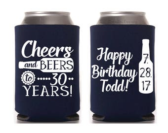 30th Birthday Favors, Cheers & Beers to 30 Years, 30th Party Favor, 30th Birthday for Him, Dirty 30, Happy 30th, 1987 Birthday