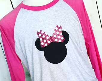 Minnie Mouse RAGLAN Baseball Tee Glitter Bow Disney Trip Bachelorette Party First Disney Trip Mom Baseball Tee