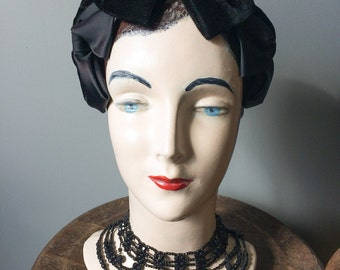 Vintage 1950's Black Velvet Satin Headpiece Hat Cap Cocktail Party Fascinator Evening Crown Prom Pinup Burlesque Headband Accessories Bows