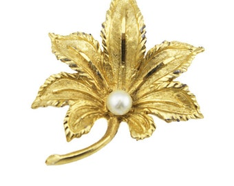 Vintage Gold Leaf Brooch with Pearl, Gold Maple Leaf Brooch with Pearl, Gold Leaf Pin, Gold and Pearl Brooch