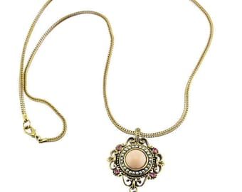 Vintage Pink Pendant Necklace, Long Gold Chain Necklace with Pink Rhinestone and Pearl Pendant, Gold Pendant Necklace, Long Gold Necklace