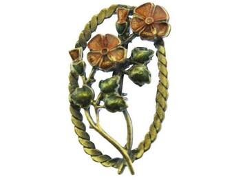 Enamel Flower Brooch, Enamel Poppy Brooch, Enamel Poppy Pin, Enamel Flower Pin