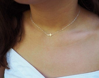Tiny Sideways Cross Necklace, Sterling Silver Cross Necklace, Centered Cross Necklace