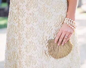 Vintage Gold Beaded Seashell Evening Bag | Convertible Clutch Purse | Vintage Handbag | Vintage Bride | Sixties | Mint | Mother of the Bride