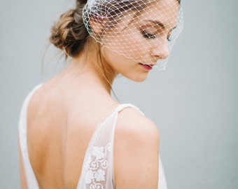 "Veil Birdcage, Bridal Birdcage, French Netting - ""Liv"""