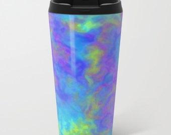 Psychedelic Metal Travel Mug, Galaxy Print Coffee Cup, To Go Mugs, To Go Coffee Cup with Lid, Lightweight Car Mug, Travel Coffee Mug