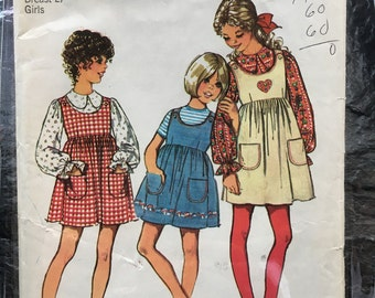 Vintage 1970s Girls' Jumper and Blouse Pattern // Simplicity 9901, size 8 > romper, gathered dress