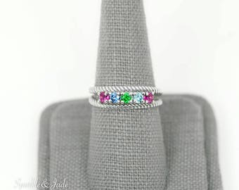 Personalized Roped Mother's Family Birthstone Ring with 1 2 3 4 5 6 or 7 Stones in .925 Sterling Silver; 14k White or Yellow Gold