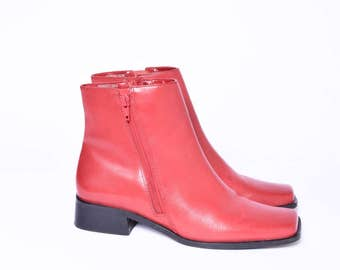 Vintage 90's Red Leather Ankle Boots with Double Sided Zippers