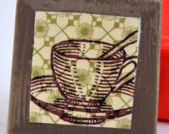 tile magnet with coffee or tea cup