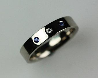 Diamond & Sapphire 18ct White Gold Ring