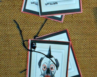 Dog Tags , Zombie Dog Gift Tags, Set of 6