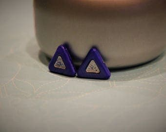 Cobalt Blue Triangle with Silver Center Stud Earring!
