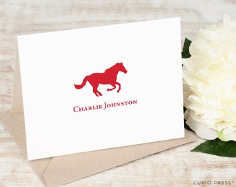 Personalized Folded Note Card Set / Horse Stationery / Stationary Notecard Set / Equestrian Professional Stationary / Thank You // HORSE