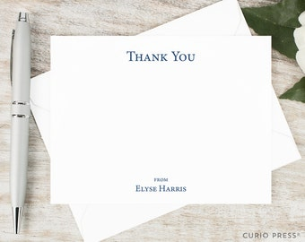 Personalized Thank You Card Set / Flat Personalized Stationary / Personalized Notecard Set / ClassicStationery // SIMPLE THANK YOU