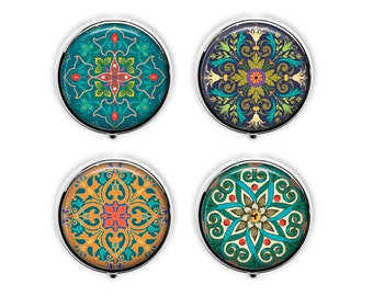 Moroccan design pill box exotic mandala pill case stash box.