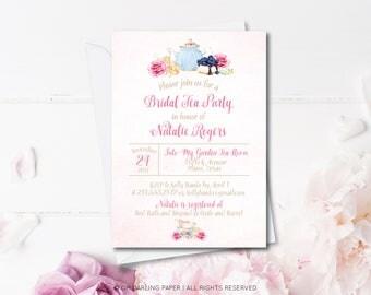 Printable Bridal Shower Invitation. Tea Party Invitation. Bridal Tea Party Invite. Wedding Shower Invitation. Tea Party Shower.