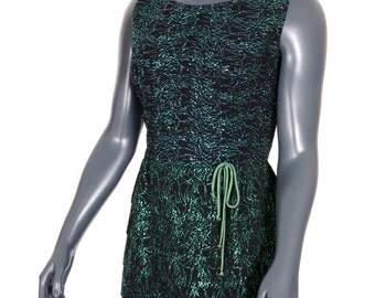 Vintage 1960's cocktail holiday party dress, black and green, tiered shirt, sparkly metallic thread, green bow