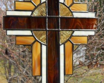 Stained Glass Cross Suncatcher, Brown  #103