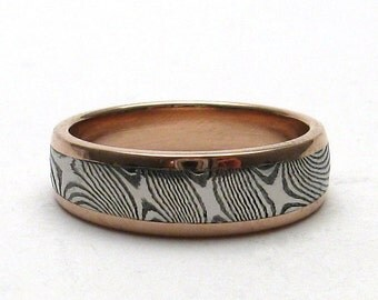 Stainless Steel Damascus Ring With 14K Rose Gold Rails & Tapered Shank