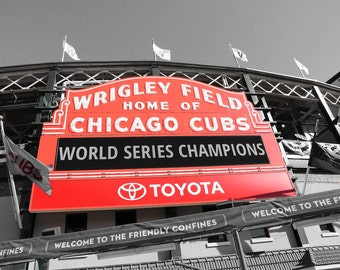 Chicago Cubs art photo print, World Series Champions, sports baseball gift, Wrigley Field sign, large paper canvas wall decor 5x7 to 30x45