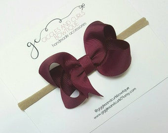 Wine - Burgundy 3 inch boutique hair bow -girls hair bows - toddler hair bows - 3 inch bows - 3 inch hair bows - girl bow - baby hair bow