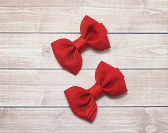 Small Red Hair Clips, Small Bow Hair Clips, Small Hair Bows, Baby Hair Clips, Red Bow Hair Clips, Mini Bows, Red Pigtail Bows, Small Bows