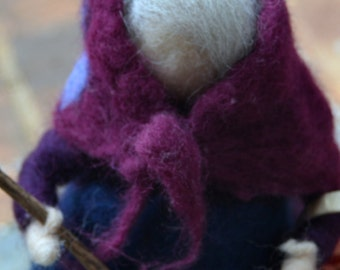 La Befana needle felted waldorf inspired Holidays Santa Claus made to order