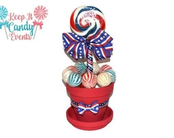 Medium Red, White and Blue Patriotic Lollipop Centerpiece, Patriotic Candy Centerpiece, Patriotic 4th of July Candy Buffet Party Ideas