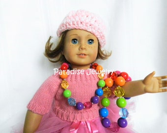 Doll and Me Jewelry Rainbow Girls Chunky Bubblegum Bead Necklace and Doll Necklace 18 inch  American Doll Accessories Set