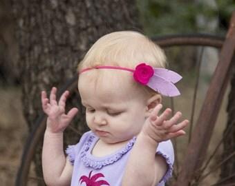 Bohemian Felt Headband - Felt Flower Feather Headband - Rose Feather Headband - Headbands for Girls - Felt Headbands - Pink Purple Headband