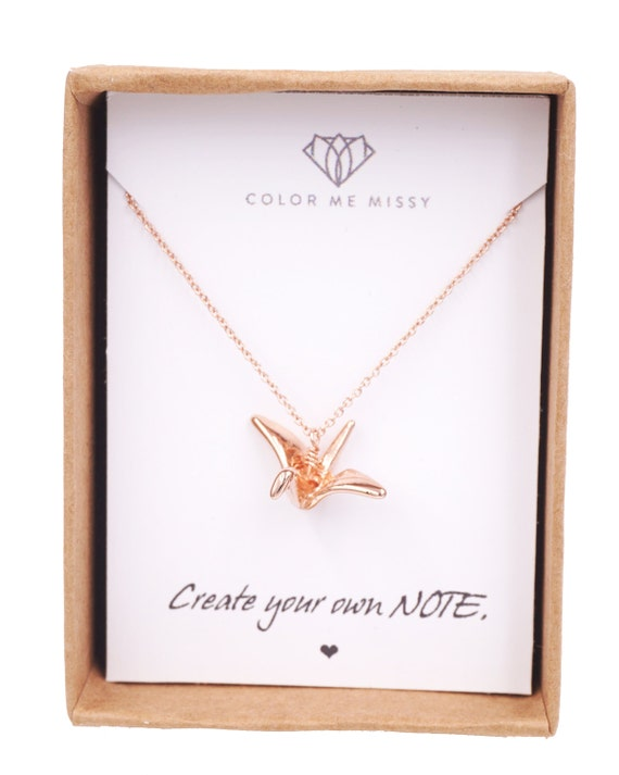 Rose Gold Rose Gold Origami Crane Necklace -  girlfriend bff lucky brides bridal shower gifts, bridesmaid, pink gold weddings