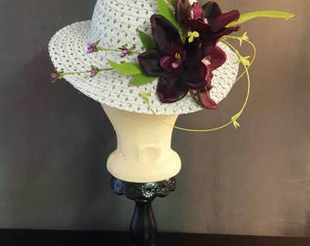 Childrens Size Lavender and Purple Floral Sun Hat