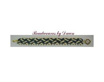 Teal and Cream Bracelet, Peyote Bracelet, Beaded Bracelet, Seed Bead Bracelet, Cuff Bracelet, Beadwoven Bracelet, Beaded Cuff, Ladies cuff