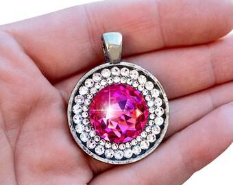 Rose Pink Swarovski Crystal Necklace, Bright Pink Vintage Swarovski Crystal Pendant Necklace, Crystal October Birthstone Necklace