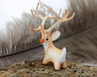 Sun Deer Totem Figurine Fantasy Sculpture