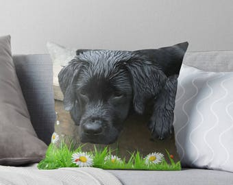 Black Lab Pillow 18ATLT - Labrador Pillow - Throw Pillow - Black Lab Decor - Black Lab Gifts - Outdoor Pillow - Dog Pillow - Black Lab Art