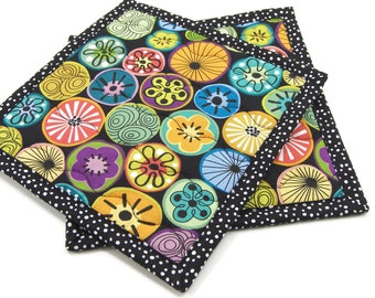 Cotton Hot Pads, Quilted Pot Holders, Colorful Flower Medallions on Black Cotton Fabric 8 Inch Potholders, Set of 2, Housewarming Gift