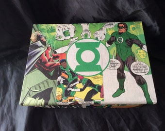 Green Lantern Jewellery/Make-Up Chest Hand Decorated With Comicbook Panels