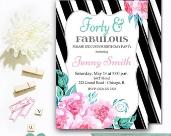 40th Birthday Invitations Printable - 40th Birthday Invitations for Adults - Women Birthday Invite - Floral Adult Invitation