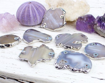 Agate Slice Slab Connector Pendant Bead, Silver Plated Electroformed, 32x42 - 40x60mm, H23, Grey Neutral Gemstone