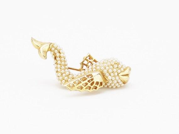HAR Pearl Koi Fish Brooch - Vintage 1950s Articulated Marine Life Brooch - Rare Vintage Jewelry