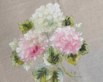Floral painting hydrangeas painting on natural linen
