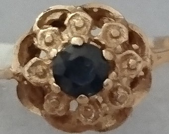 Vintage 14k gold sapphire ring