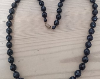 Vintage French jet bead necklace